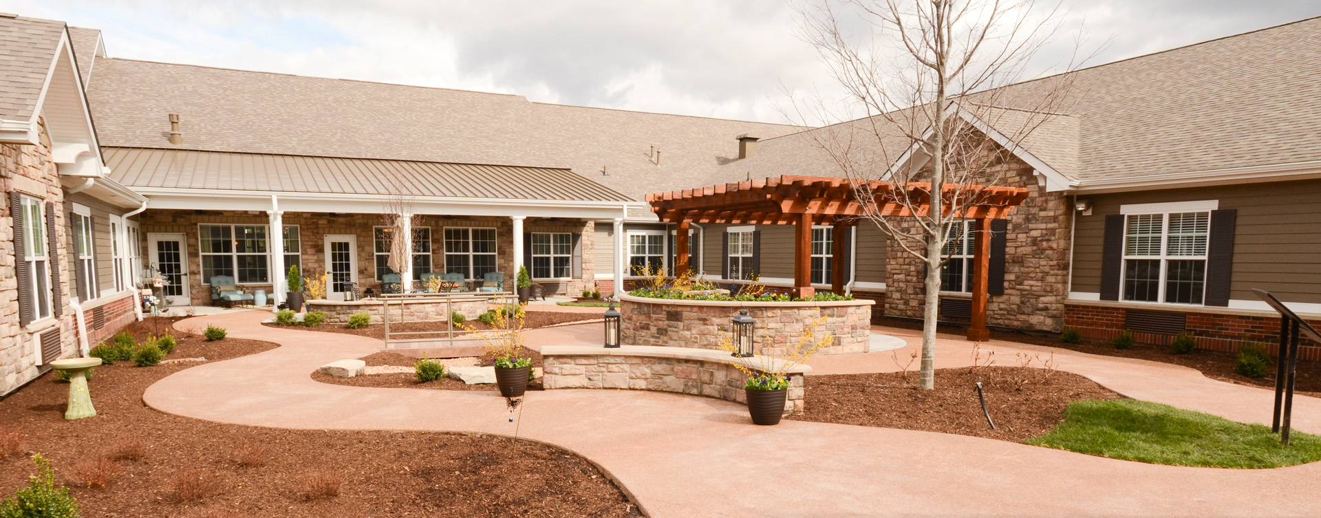 Enjoy the outdoors in a whole new light by stepping into our secure courtyard at Bickford of Gurnee