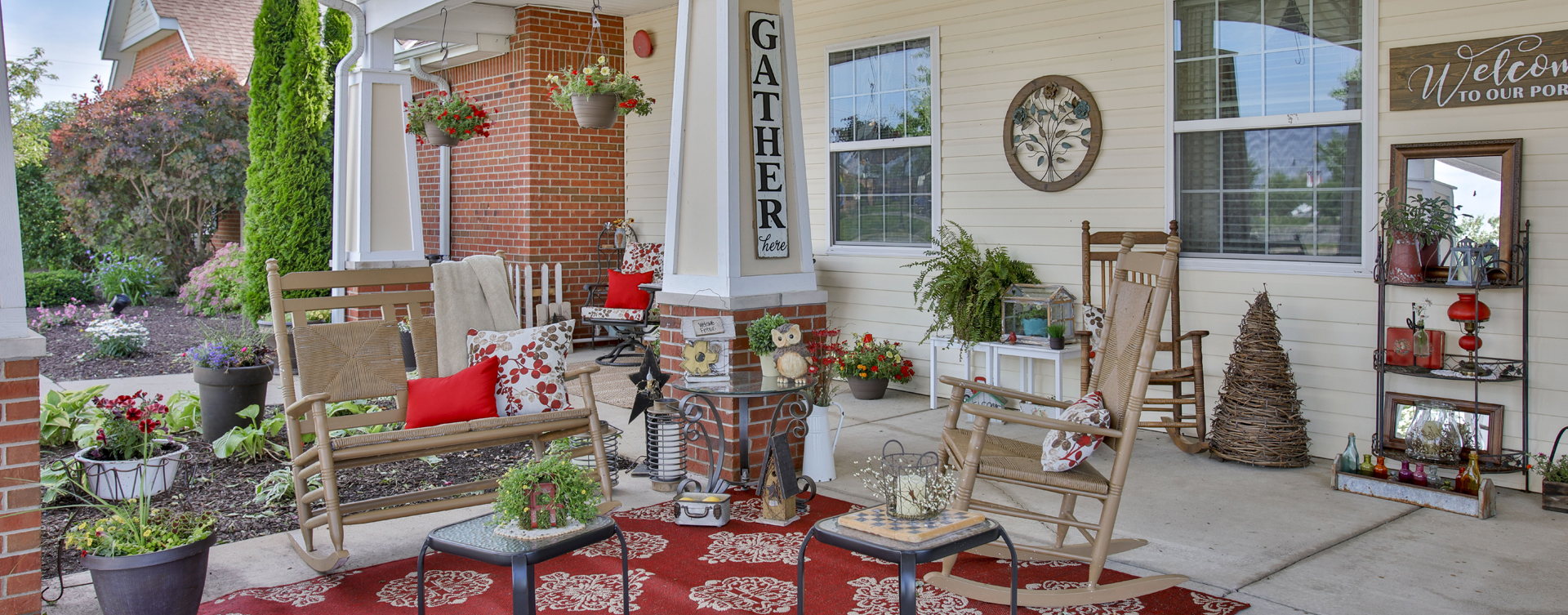 Sip on your favorite drink on the porch at Bickford of Lafayette