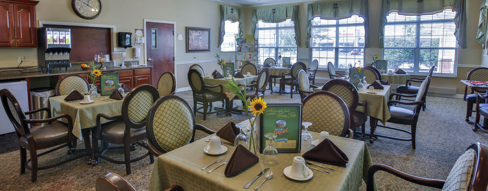 Enjoy homestyle food with made-from-scratch recipes in our dining room at Bickford of Lafayette