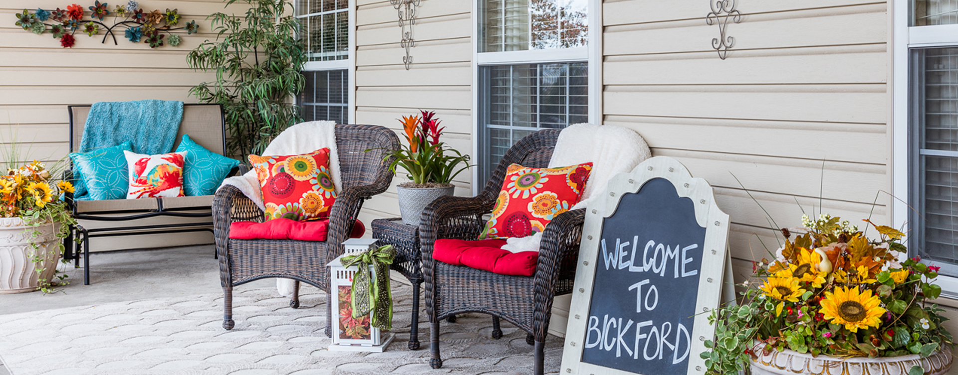 Sip on your favorite drink on the porch at Bickford of Lincoln