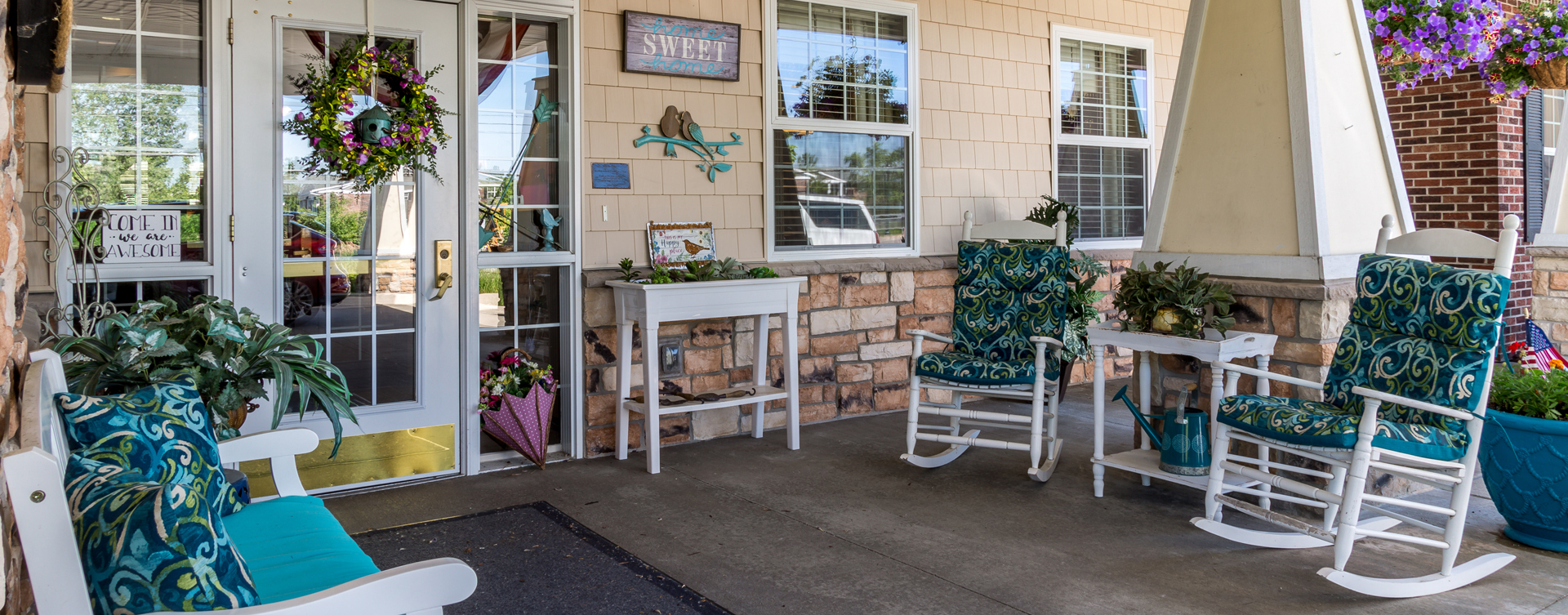 Relax in your favorite chair on the porch at Bickford of Okemos