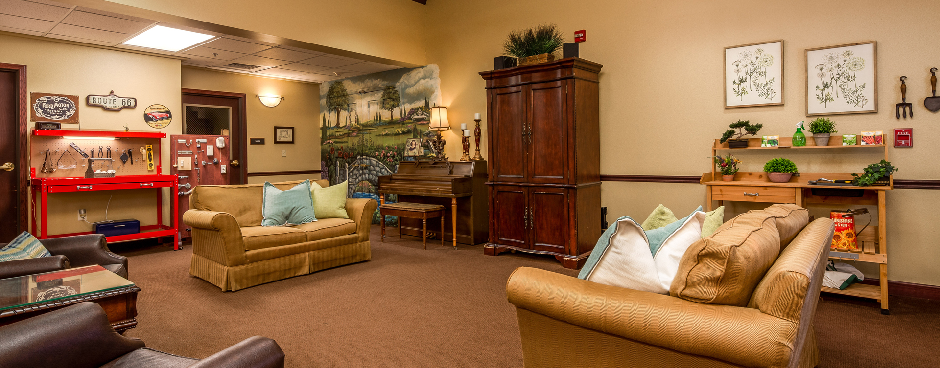 Chairs and sofas sit higher and are easier to get in and out of in the Mary B's living room at Bickford of Okemos