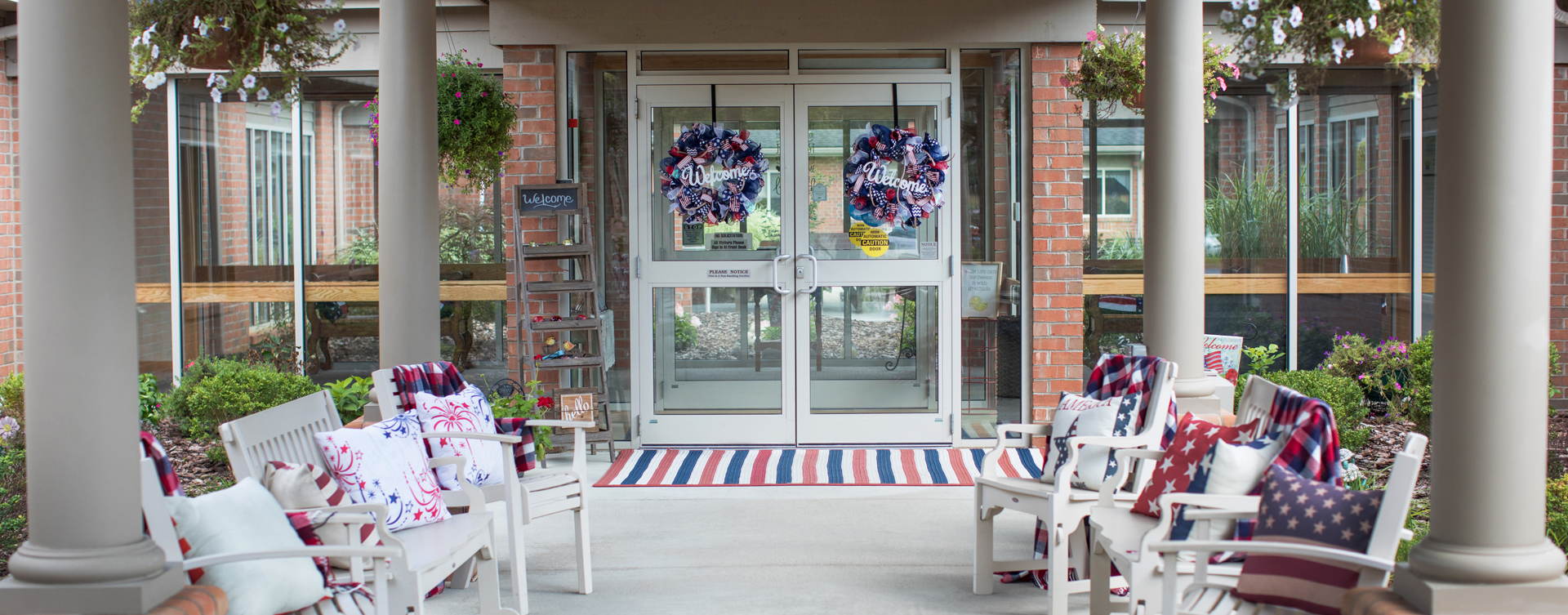Enjoy conversations with friends on the porch at Bickford of Lancaster