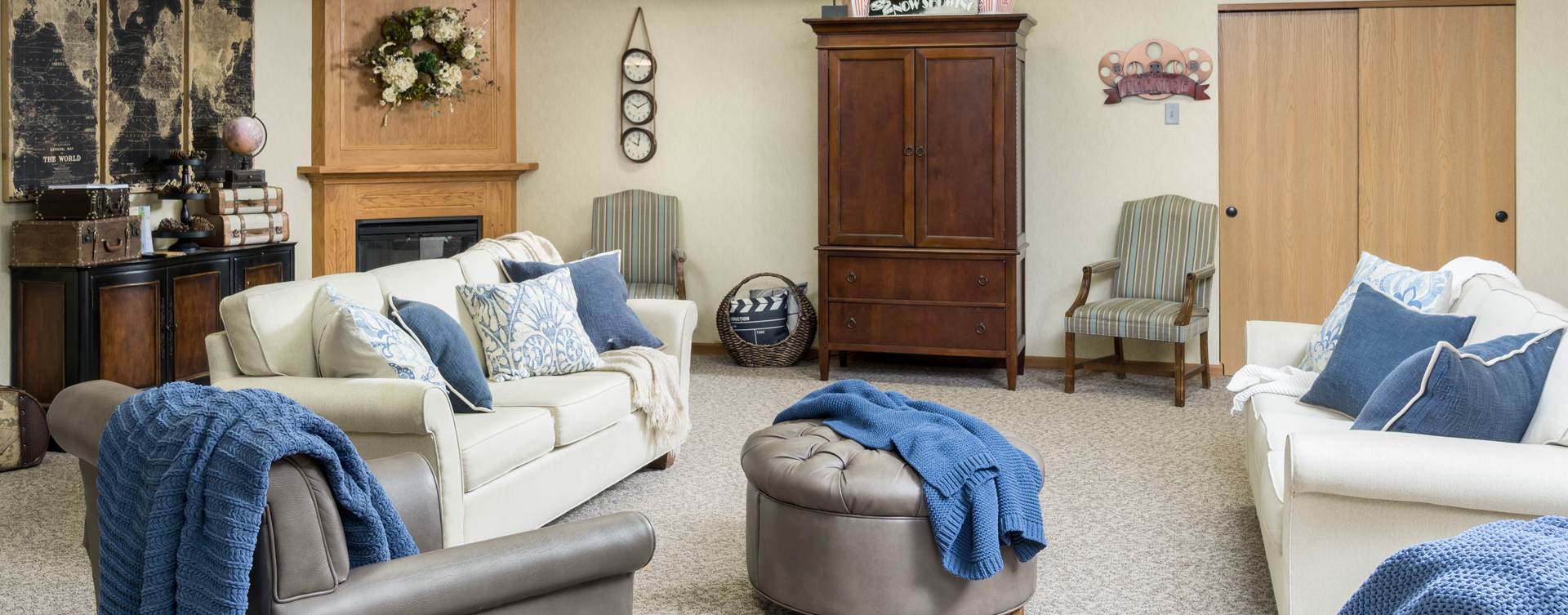 Residents can enjoy furniture covered in cozy fabrics in the Mary B's living room at Bickford of Lancaster