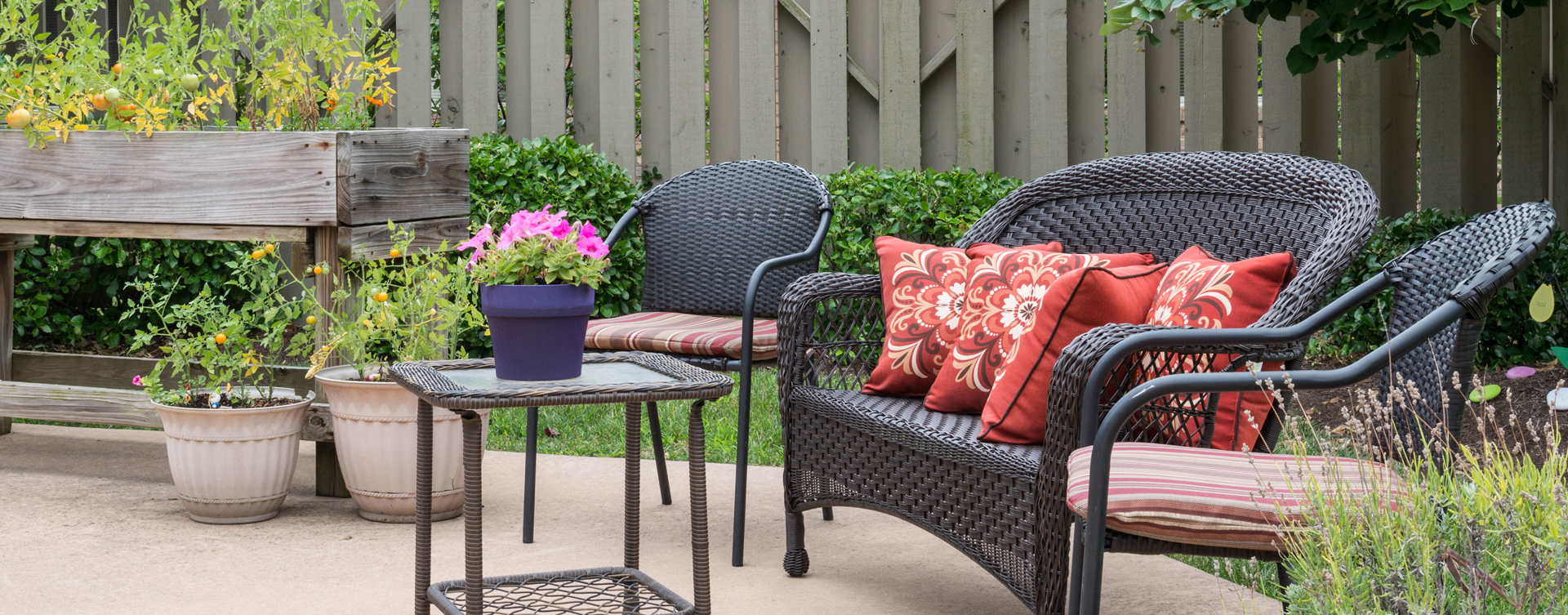 Feel like you're on your own back porch in our courtyard at Bickford of Lancaster