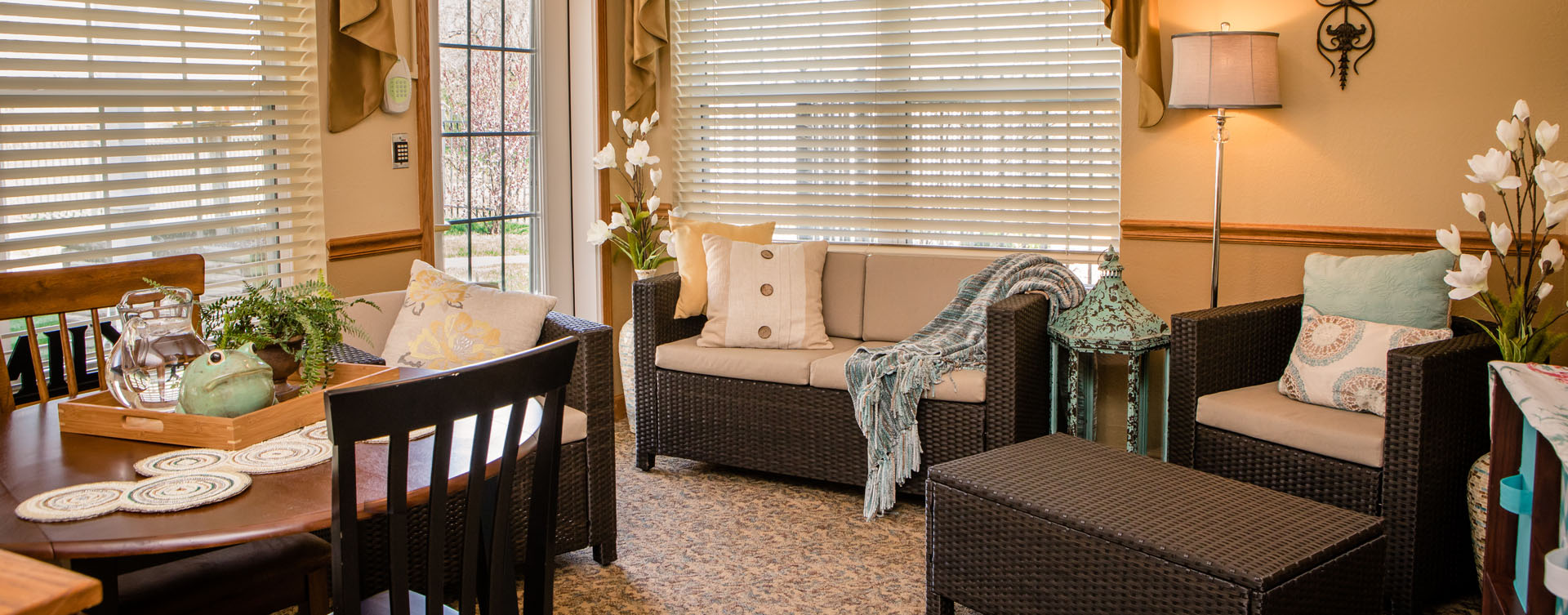 Relax in the warmth of the sunroom at Bickford of Macomb