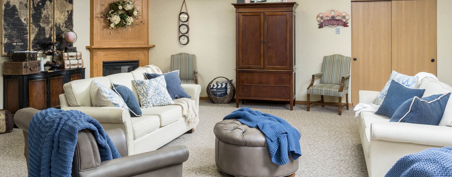 Residents can enjoy furniture covered in cozy fabrics in the Mary B's living room at Bickford of Middletown