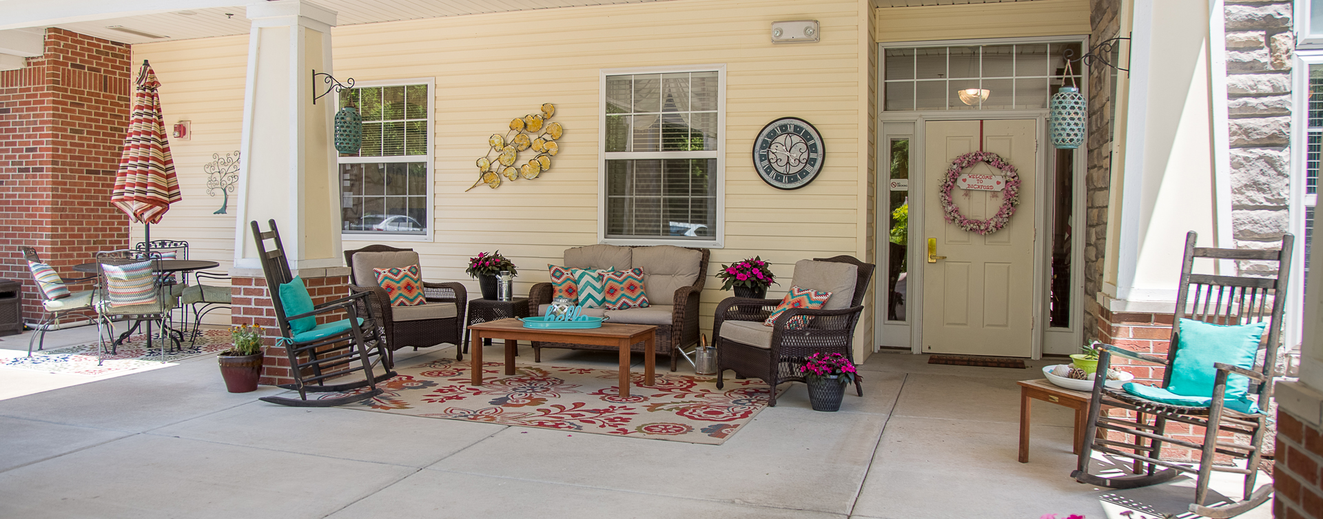 Enjoy conversations with friends on the porch at Bickford of Moline