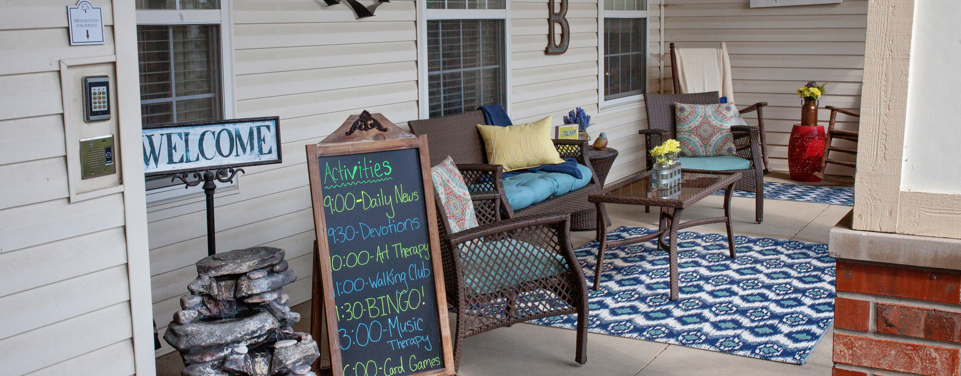 Sip on your favorite drink on the porch at Bickford of Marion