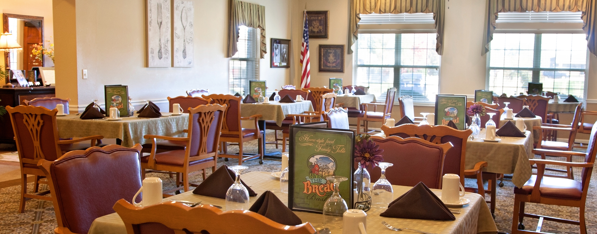 Enjoy restaurant -style meals served three times a day in our dining room at Bickford of Marion