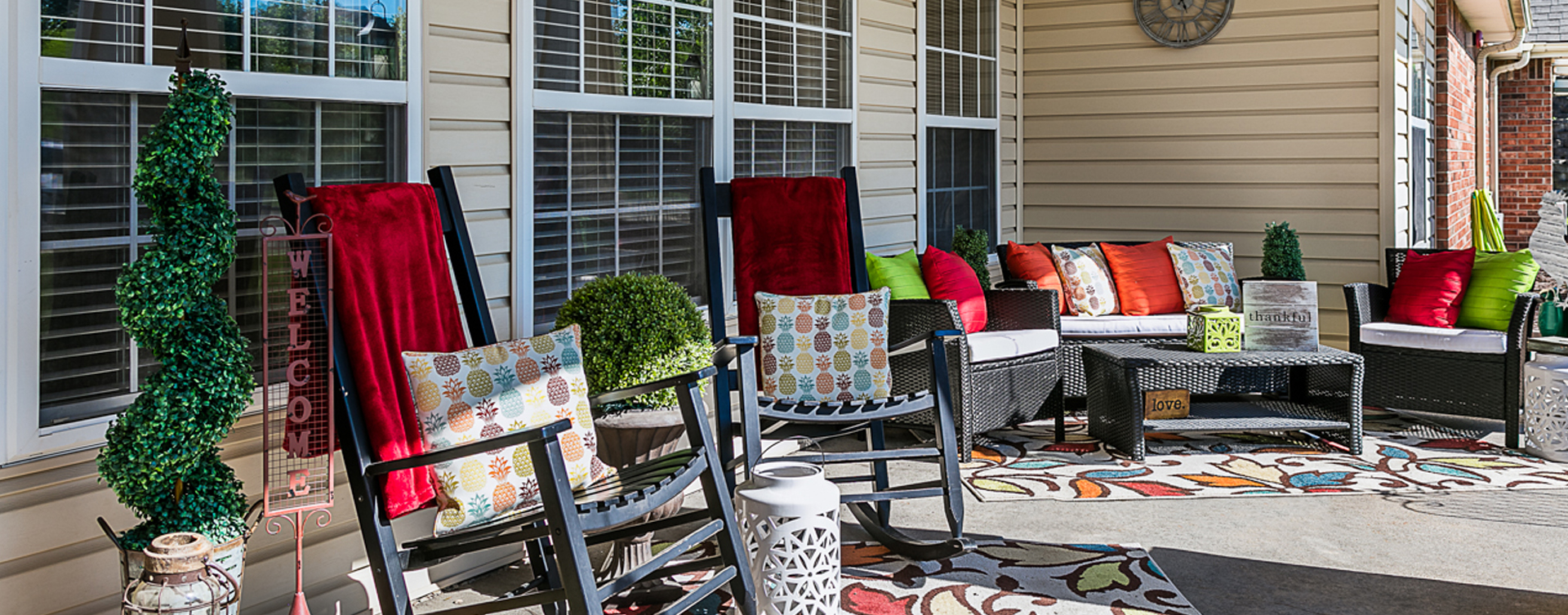 Sip on your favorite drink on the porch at Bickford of Marshalltown
