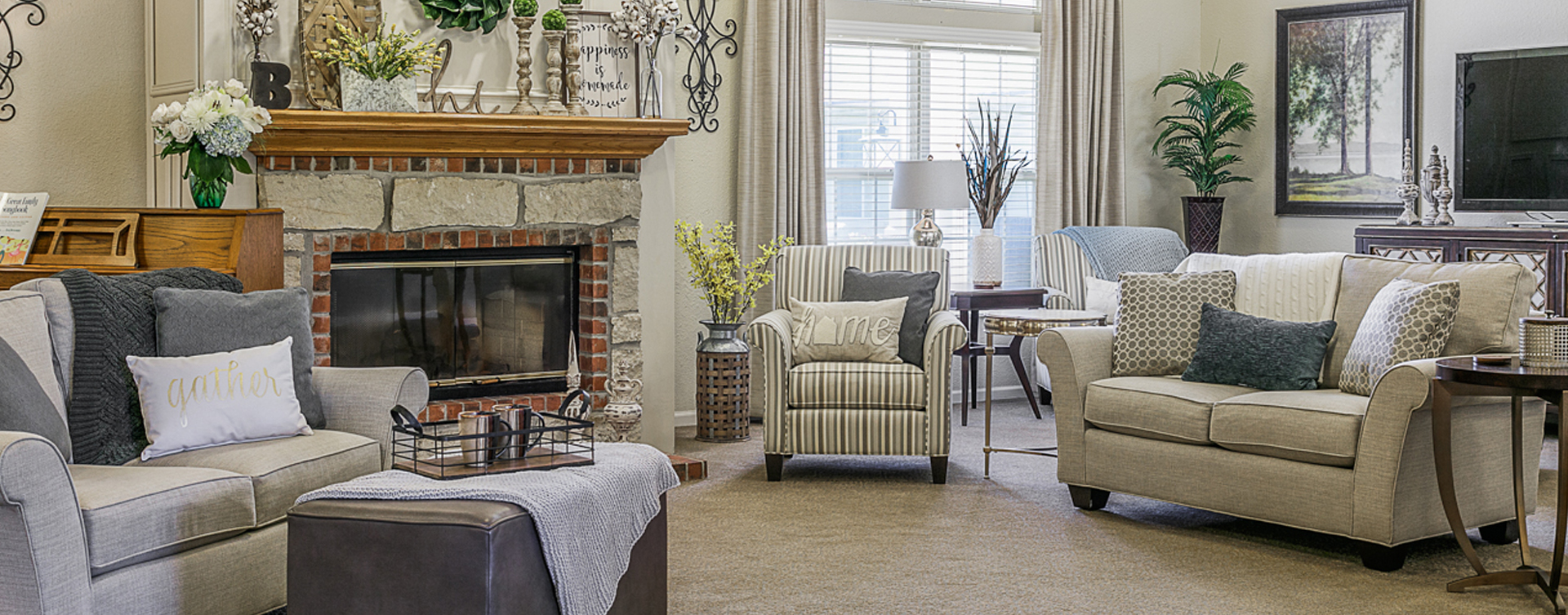 Socialize with friends in the living room at Bickford of Marshalltown