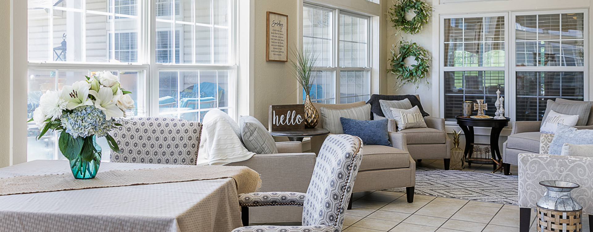 Relax in the warmth of the sunroom at Bickford of Marshalltown