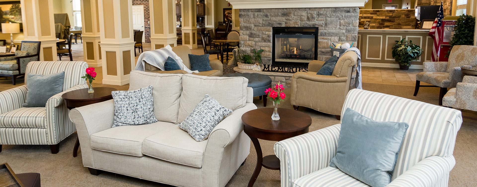 Snooze in your favorite chair in the living room at Bickford of Oswego