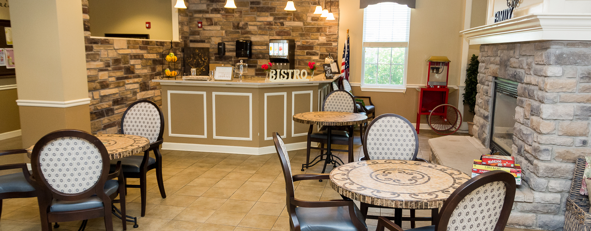We're serving up snacks, beverages and service around the clock in the bistro at Bickford of Oswego