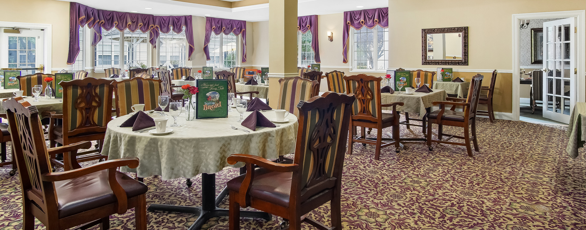 Enjoy restaurant -style meals served three times a day in our dining room at Bickford of Overland Park