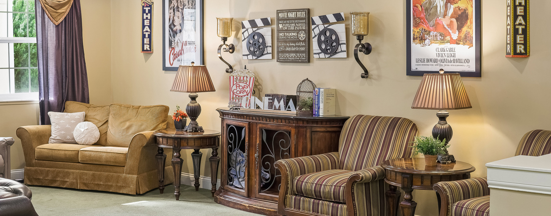 Residents can enjoy furniture covered in cozy fabrics in the Mary B's living room at Bickford of Overland Park