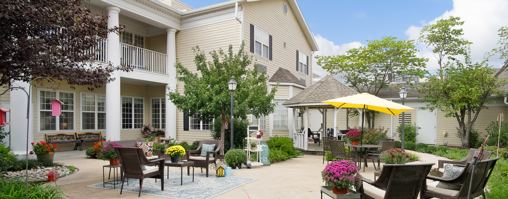 Enjoy the outdoors in a whole new light by stepping into our secure courtyard at Bickford of Overland Park