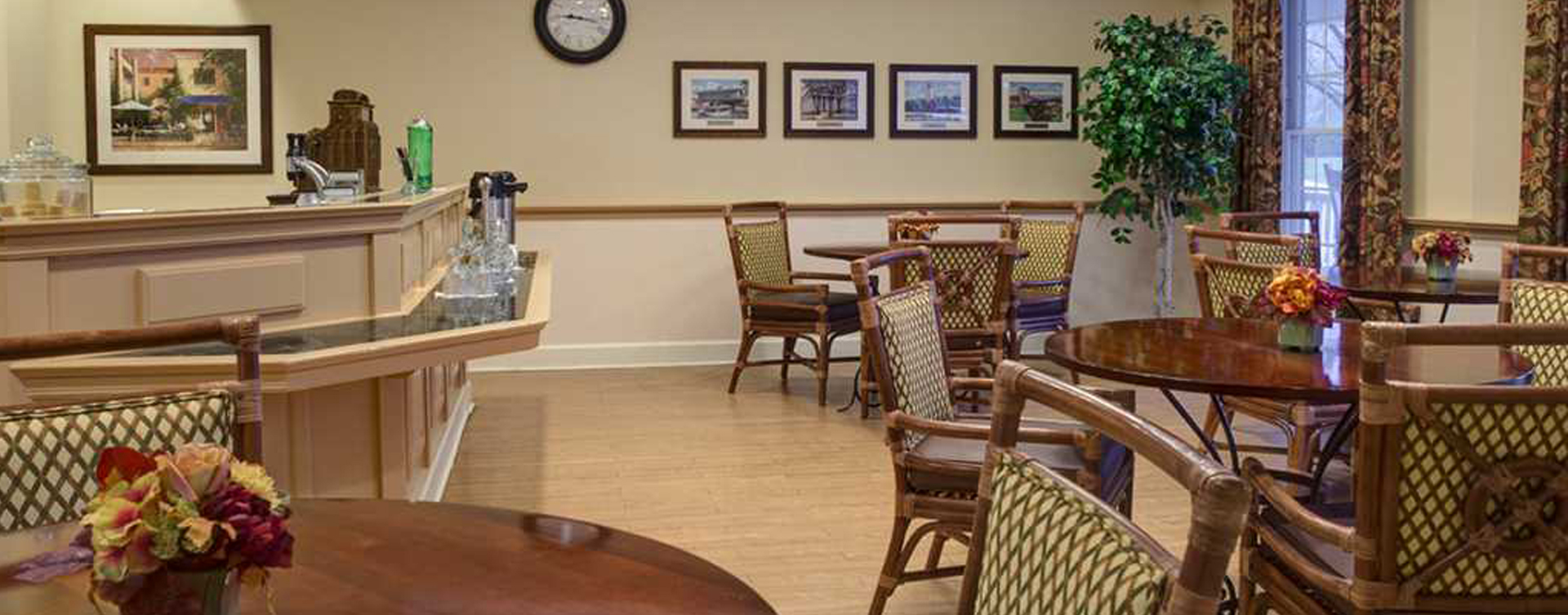 Mingle and converse with old and new friends alike in the bistro at Bickford of Presque Isle Bay