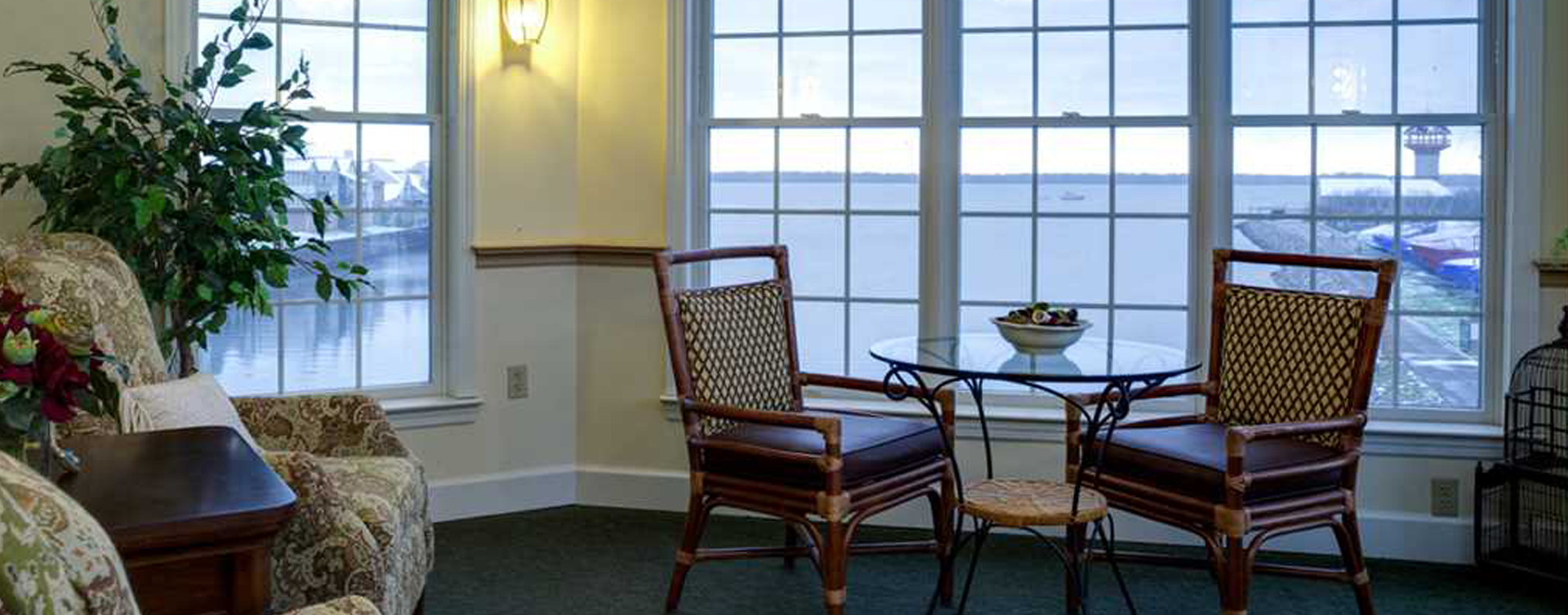 Enjoy a good book in the sitting area at Bickford of Presque Isle Bay