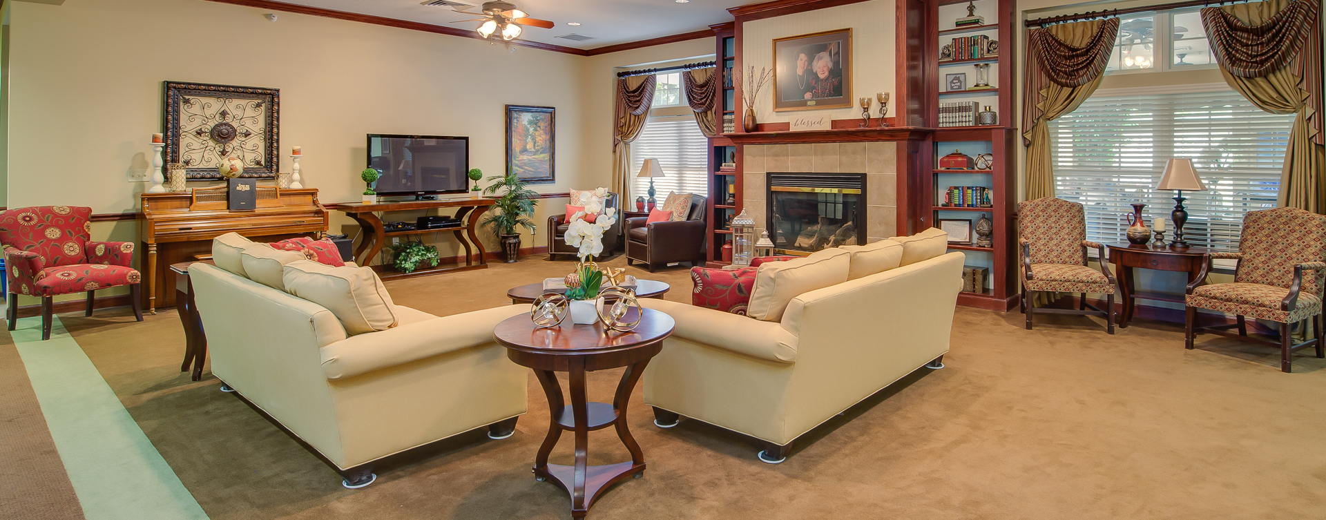 Enjoy a good book in the living room at Bickford of Portage