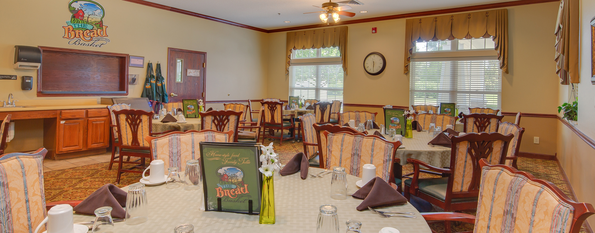Food is best when shared with friends in the dining room at Bickford of Portage