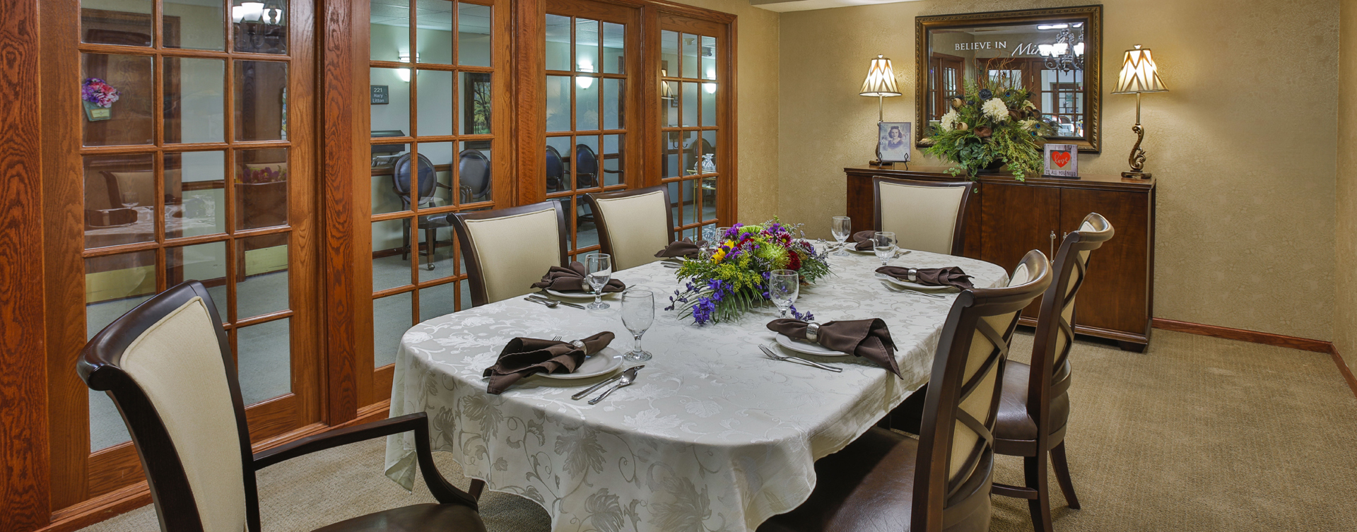 Food is best when shared with family and friends in the private dining room at Bickford of Peoria