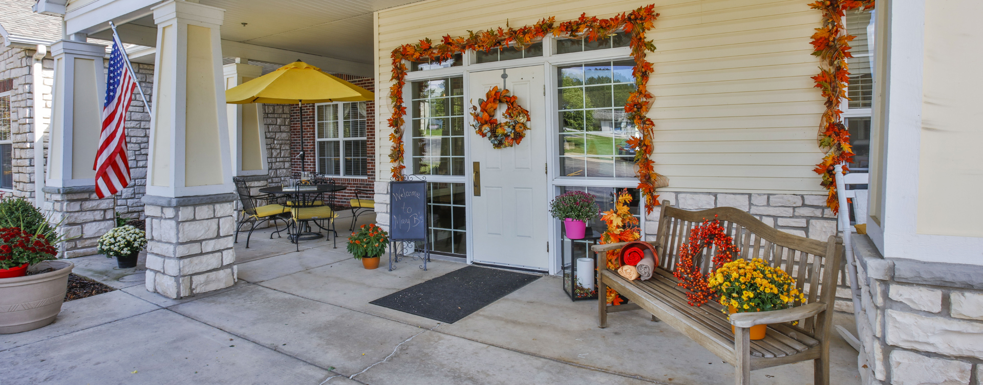 Sip on your favorite drink on the porch at Bickford of Peoria
