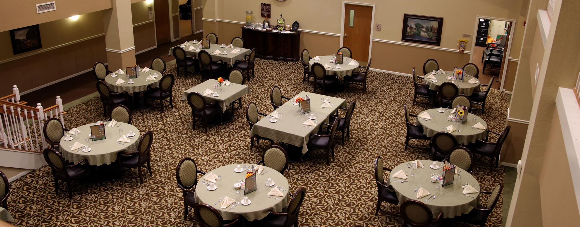 Food is best when shared with friends in the dining room at Bickford of Rockford