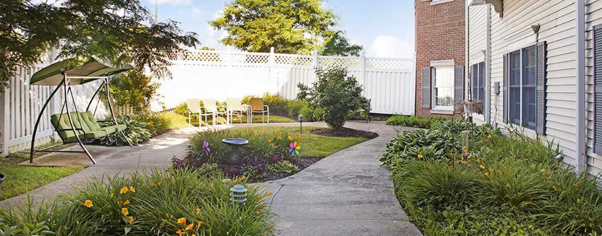 Enjoy bird watching, gardening and barbecuing in our courtyard at Bickford of Rocky River