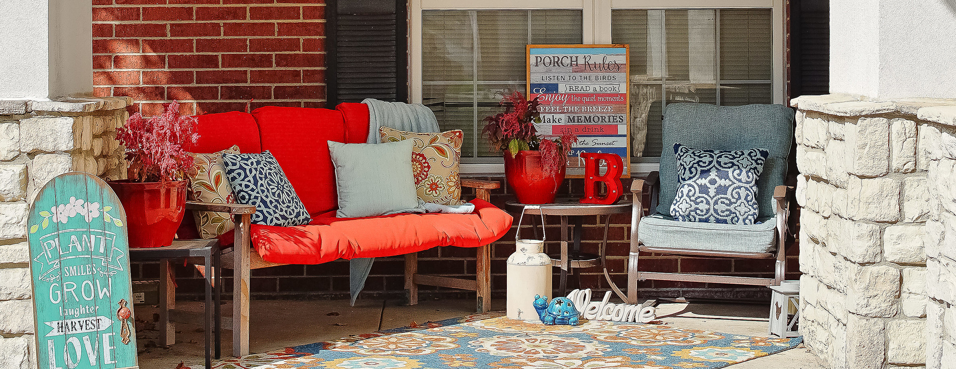 Relax in your favorite chair on the porch at Bickford of Raytown