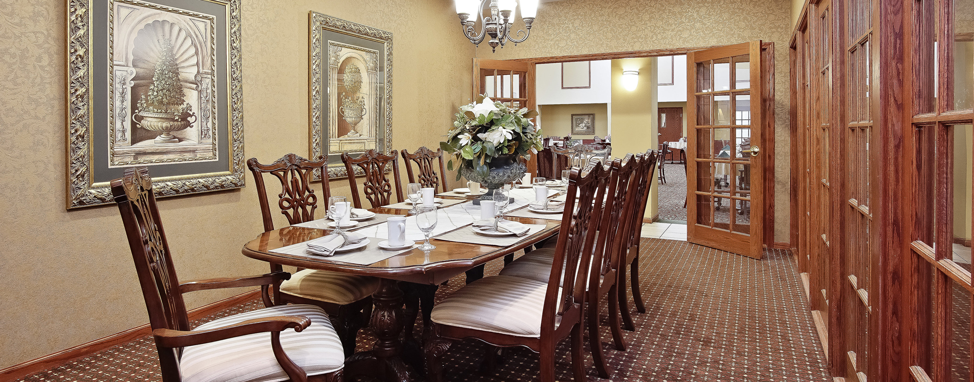 Food is best when shared with family and friends in the private dining room at Bickford of Raytown