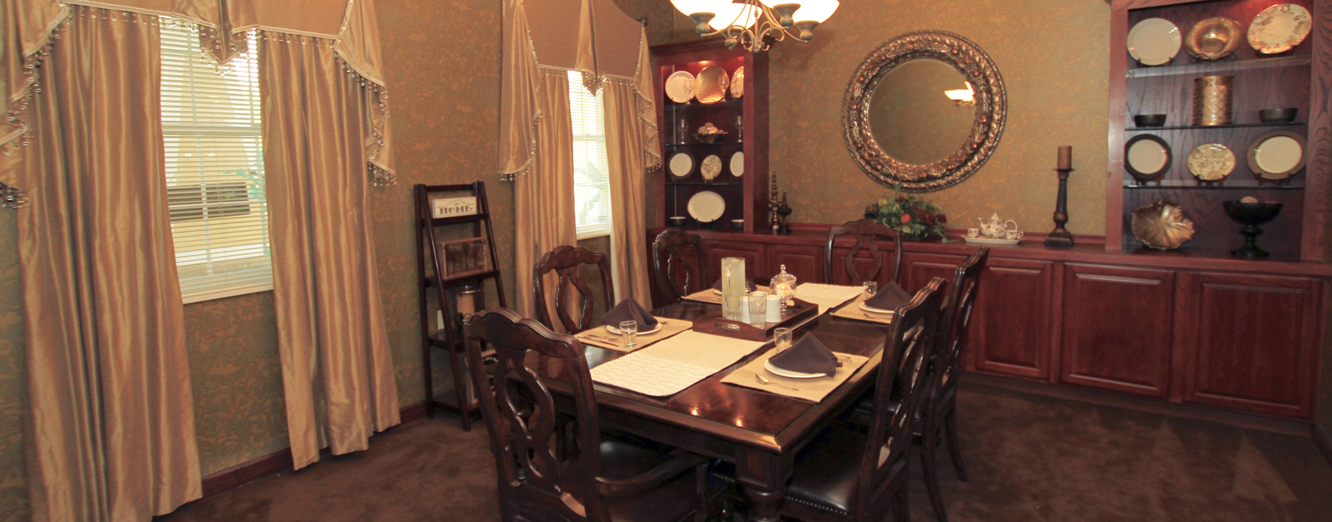 Food is best when shared with family and friends in the private dining room at Bickford of Saginaw Township