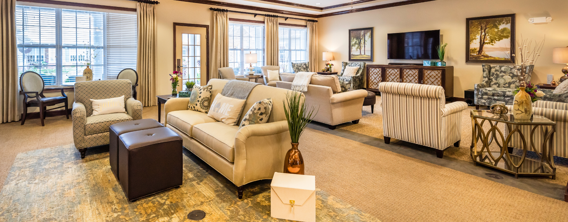 Enjoy a good book in the living room at Bickford of Shelby Township