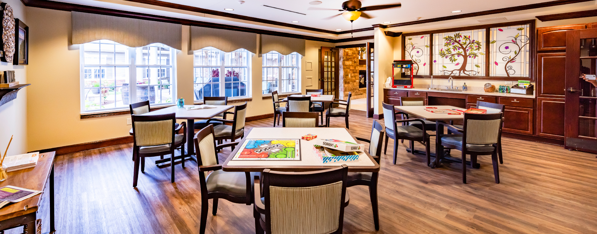Enjoy a good card game with friends in the activity room at Bickford of Shelby Township