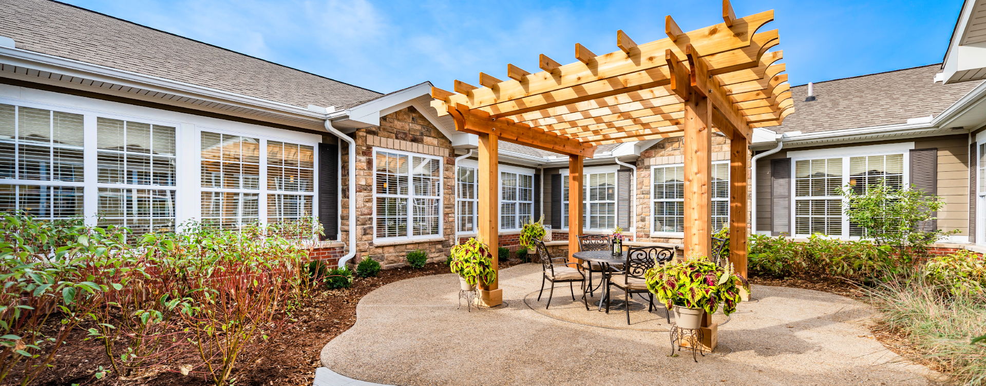 A single entrance courtyard gives residents with dementia the opportunity to be safe outside at Bickford of Shelby Township