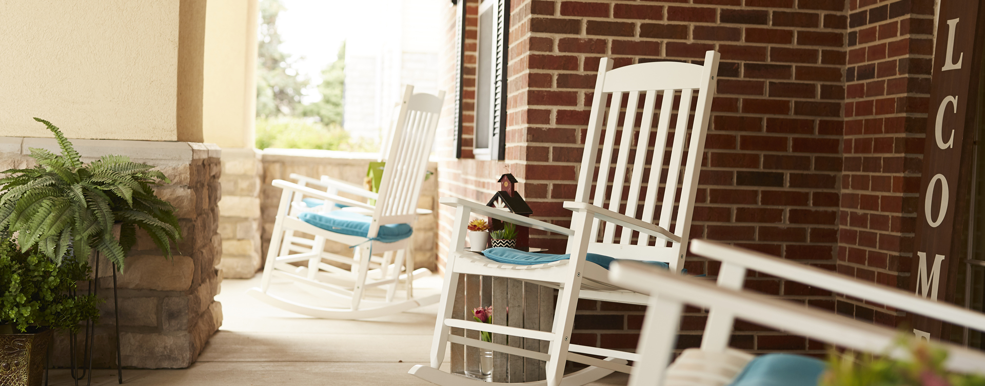Relax in your favorite chair on the porch at Bickford of Springfield