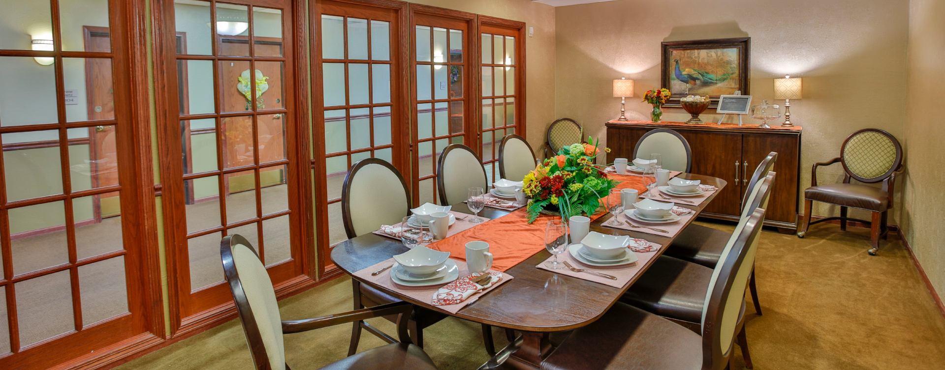 Food is best when shared with family and friends in the private dining room at Bickford of Springfield