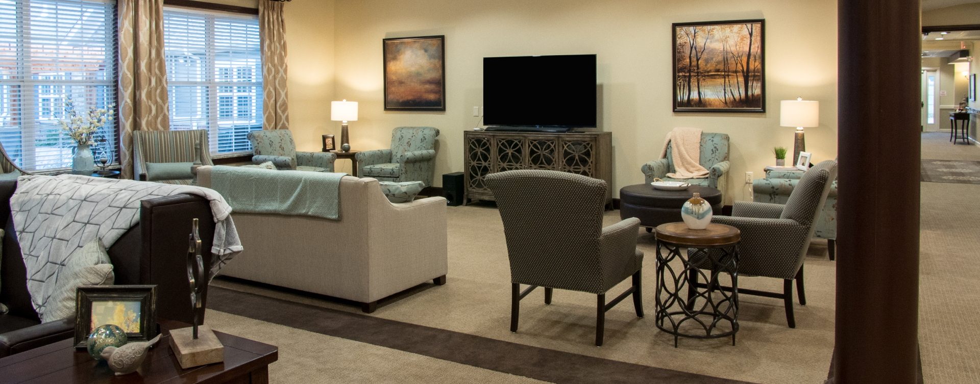Enjoy a good book in the living room at Bickford of Spotsylvania