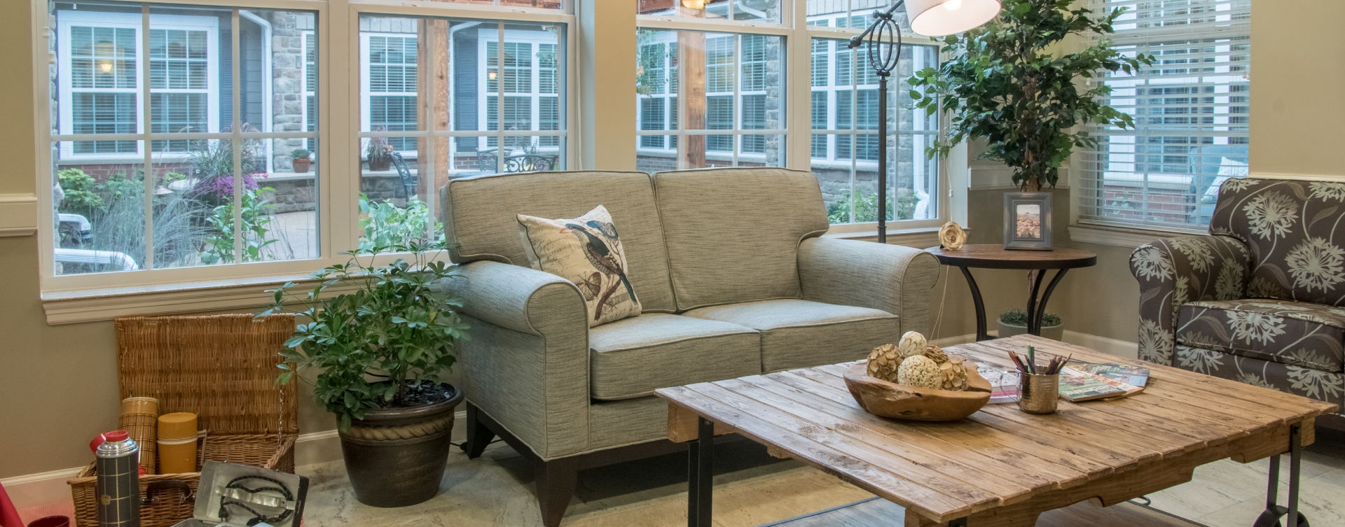Relax in the warmth of the sunroom at Bickford of Spotsylvania