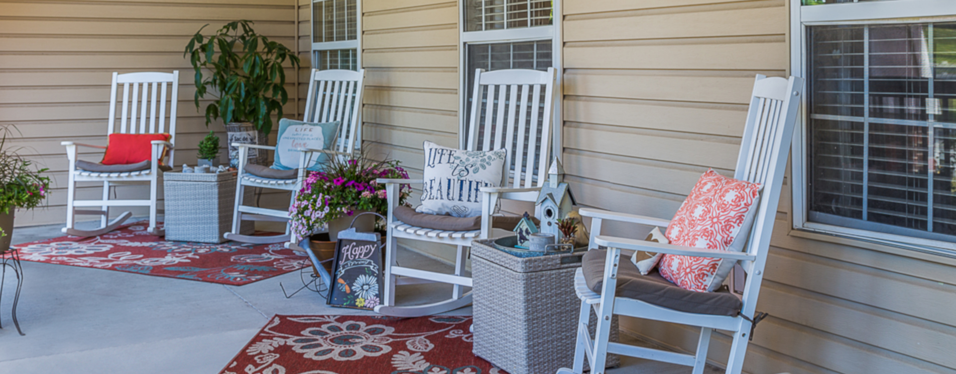 Sip on your favorite drink on the porch at Bickford of Urbandale