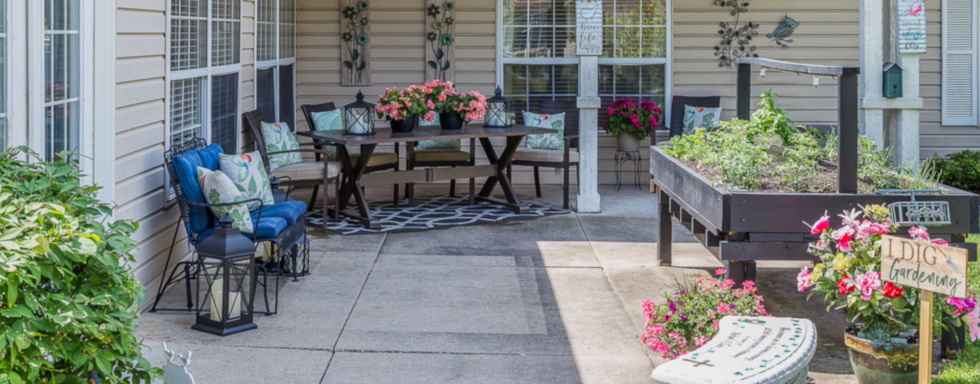 Enjoy the outdoors in a whole new light by stepping into our secure courtyard at Bickford of Urbandale