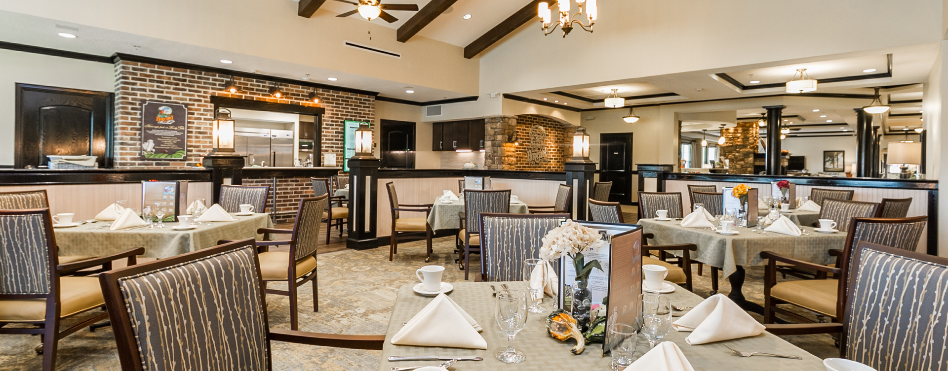 Enjoy restaurant -style meals served three times a day in our dining room at Bickford of Virginia Beach