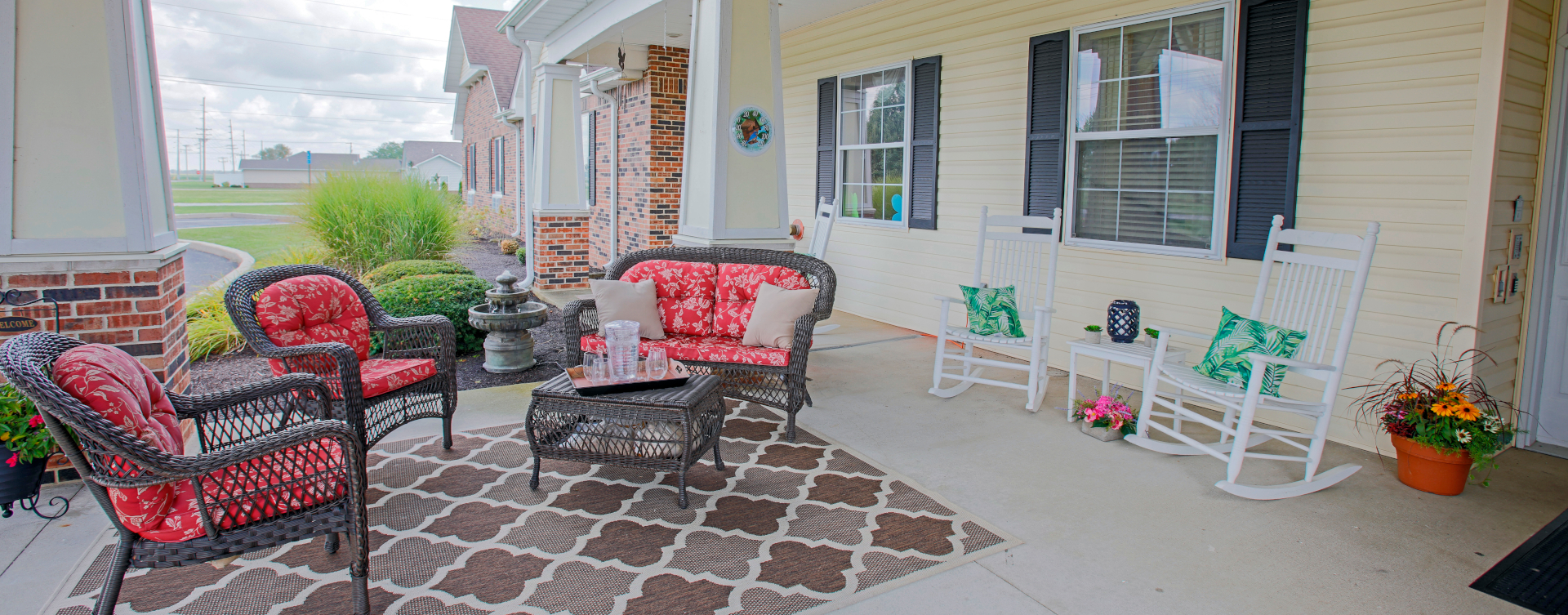 Enjoy conversations with friends on the porch at Bickford of Wabash