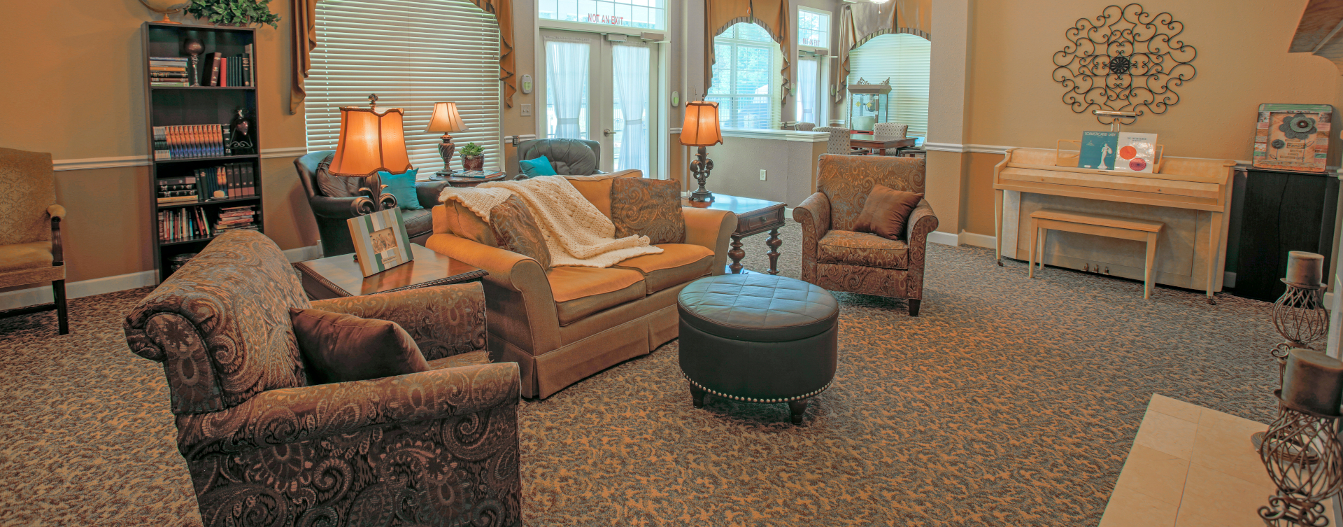 Enjoy a good book in the living room at Bickford of Wabash