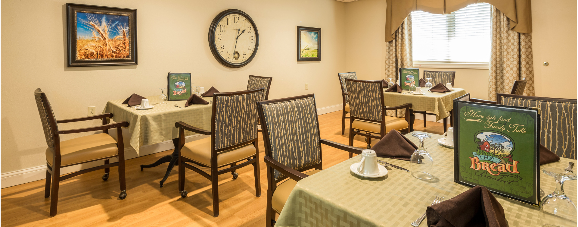 Food is best when shared with friends in the dining room at Bickford of West Lansing