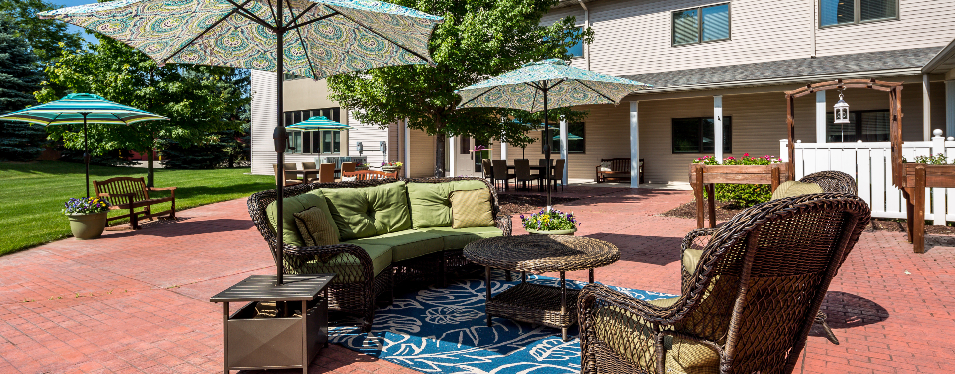 Enjoy the outdoors in a whole new light by stepping into our secure courtyard at Bickford of West Lansing