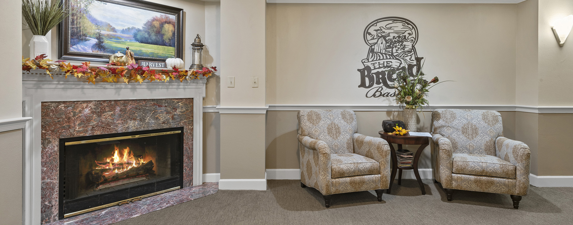 Enjoy a good book in the living room at Bickford of Worthington