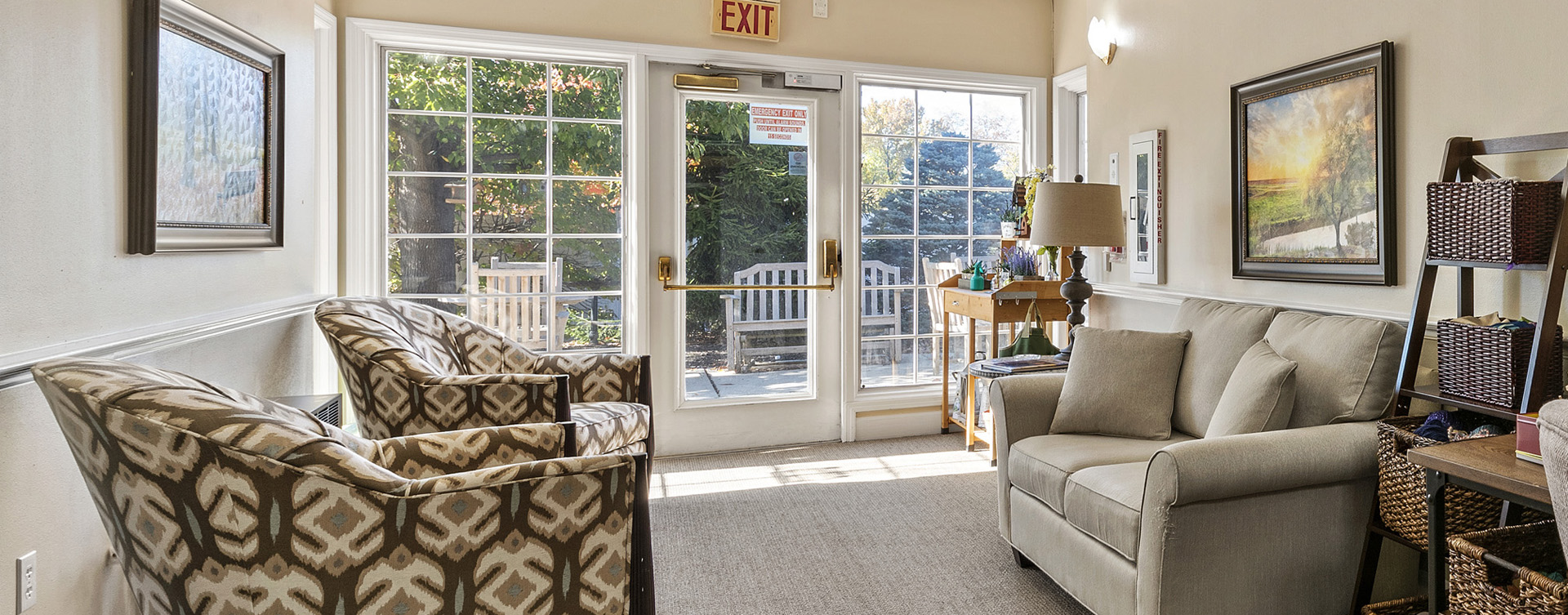 Enjoy the view of the outdoors from the sunroom at Bickford of Worthington